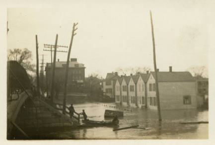 1913 Flood in Watervliet, NY - 14th Street & Second Avenue, Looking West