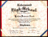 High School Diploma, Lakewood High School, 1932