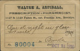 [Envelope containing prescription] Walter A. Aspinall, Prescription Pharmacist