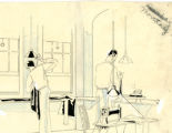 Two men working in a tailor shop.