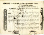 New York State 5 per cent stock. Issued by the Transfer Office of the Bank of the Delaware and...