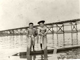 Strang Children posing in front of Vischer Ferry Bridge  Construction, c. 1901