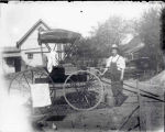 Washing and polishing horse buggy, Clifton Park Village, NY, c.1910