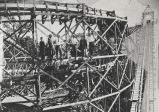 Men on roller coaster beam, Luna Park, Rexford, NY