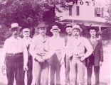 Men in front of Jonesville Hotel, Clifton Park Village, NY