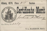 New York State Agricultural Society certificate of merit to Joshua Anthony, 1876