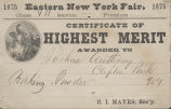 Eastern New York Fair certificate of highest merit to Joshua Anthony, 1875