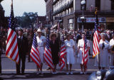 Memorial Day Parade, 1943, group marching with flags