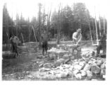 Construction of a fireplace at a picnic area in Green Lakes State Park