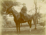 Mary Ann (Matie) Davis Schermerhorn mounted side saddle Hermance Rd. Galway NY