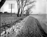 Looking south along shoreline, stone wall following lake shore