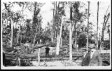 Post Card: Men stand on trolley tracks after the 1912 tornado