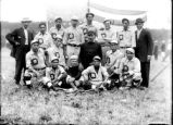 Onondaga Nation: Baseball team with American flag, 1 of 2