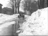 Liverpool - Winter scene:  Motoring along thru a canal of snowdrifts