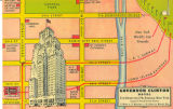 Hotel Governor Clinton superimposed on a map showing it in relation to the New York World's Fair...