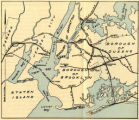 Fold out map showing train lines from Newark through the 5 boroughs.