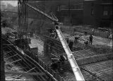 Ready to pour concrete for new subway,1923