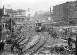 Removing streetcar tracks for subway project, 1923