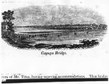 Cayuga Lake Bridge, woodcut