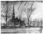 First Presbyterian Church (new building) in Pulteney Park; also showing Dr. Delaney's office and...