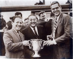 [Guy Lombardo and Trophy for the 1965 Around Long Island Marathon]