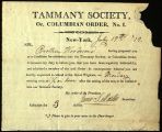 Appointment as Member of  the Tammany Society for Augustus Floyd, 1819
