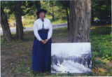 [Woman in Period Dress with An Historical Portrait of the Davis Town Meeting House]