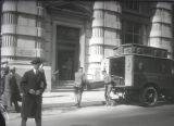 Armored car and detail of entrance to Guaranty Trust Company of New York, 522 Fifth Avenue between...