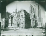 Rear of St. Patrick's Cathedral and Bishop's residence, Madison Avenue between 50th Street and...