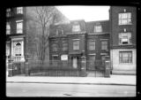 Manhattan / Brooklyn: [unidentified house with mansard roof, high fence and deep front garden,...