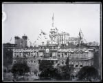 City Hall, City Hall Park, New York City, draped with flags for the Dewey Celebration, 1899.