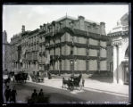 Fifth Avenue at the corner of 47th Street, New York City, showing the Gould mansion draped in...