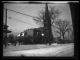 Newtown: [unidentified church and incomplete or gutted house in snow, undated.]