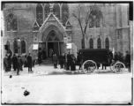 Manhattan: winter view entrance to the Bloomingdale Reformed Dutch Church, West 68th Street and...