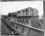 Brooklyn: view from the elevated railroad platform at Fulton Street, undated. Novelty Building,...