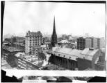 Brooklyn: rooftop view of Brooklyn Heights, undated. Remsen Street, Holy Trinity Church, and the...