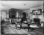 Bayshore, New York: bedroom with fireplace, Sagtikos Manor House, undated.