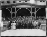 Large group of guests posed on the steps of the Manhattan Beach Hotel, undated.