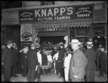 Crowds admiring the Stafford Ink window display at F.H. Knapp, 146 Hamilton Place, New York City,...