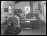 Engineer P.J. O'Toole with generators (?), St. Vincent's Retreat for the Insane, Harrison, N.Y.,...