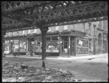 144 Greenwich Street / 127 Cedar Street, viewed from street level, under el tracks, New York City,...