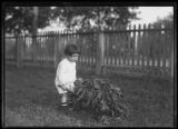 Clifford Moore (?) with garden wheelbarrow, probably Inwood, New York City, September 7, 1915.