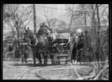 Double exposure shot at the Bolton Road fire, Pelham, N.Y. (?), April 16, 1917. William Gray...