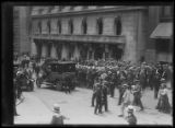 Crowd listening to unidentified man giving a speech in Madison Square, New York City, August 4,...