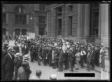 Crowd listening to unidentified man in white giving a speech, New York City, undated (ca. August...