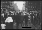 Crowd listening to unidentified man giving a speech, New York City, undated (ca. August 1916....
