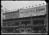 Billboard for the United Electric Shops and for electric signs, New York City, undated (ca. April...