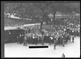 Crowd listening to unidentified man giving a speech in Madison Square, New York City, undated (ca....