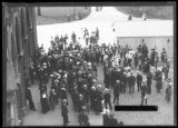 Crowd listening to unidentified man giving a speech outside a park, New York City, September 9,...