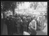 Crowd listening to unidentified man giving a speech outside Central Park, New York City, August...